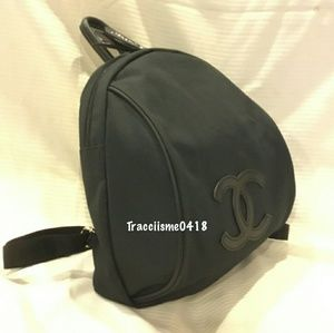 Authentic Chanel Nylon Logo Black Backpack VIP